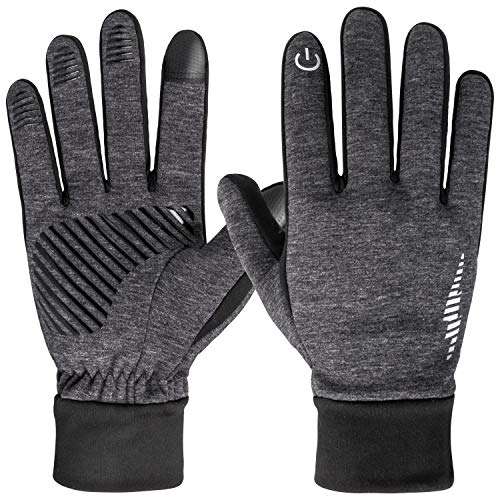 HiCool Winter Gloves Touch Screen Mittens Liners for Women Men Running Cycling Drving (Grey, M)