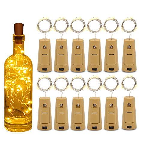 VLUNT Luces De Botella con Corcho, Paquete De 12, 2M, 20 LED, Alambre De Cobre, Funciona con Pilas, Botella De Vino, Luz De Hadas para Regalo, Luces LED De Bricolaje para Interiores, Dormitorios