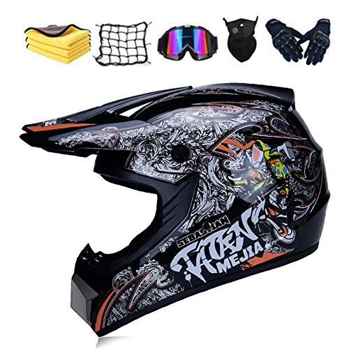 Fullface - Casco de protección para motocross, dot certificed adulto, casco para niños con gafas, guantes y máscara, unisex (B,M)