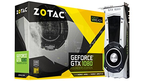 ZOTAC GeForce GTX 1080 Founders Edition, ZT-P10800A-10P, 8GB GDDR5X Dual-link DVI-I Display Port, HDMI Gaming Graphics Card