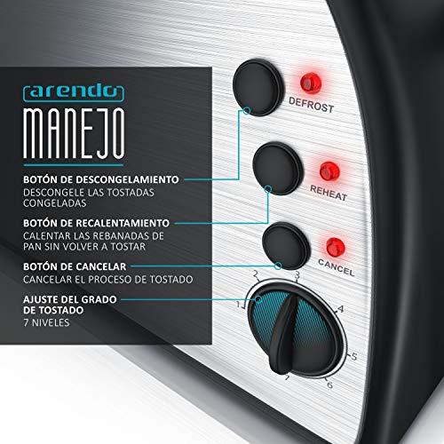 arendo - Tostadora automática - 2 Ranuras largas y Anchas - 1500W ...