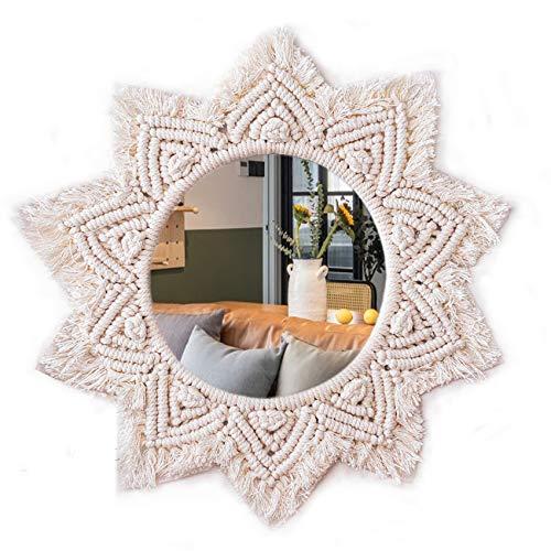 TENEWEE Macraem Wall Hanging Mirror Round Boho Decorative Mirror Wall Art Decor