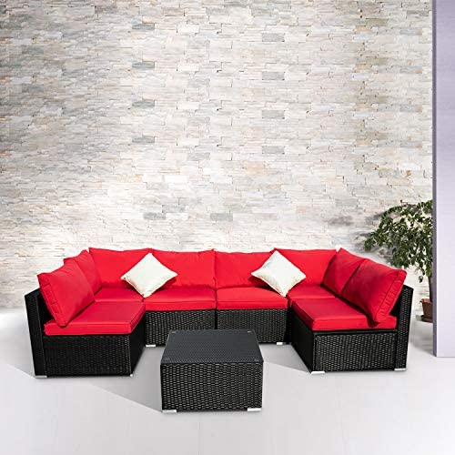 Best Wonlink Patio Sofa Rattan Garden Sectional,Wicker Patio Conversation Furniture Sectional,Red 7 PCS
