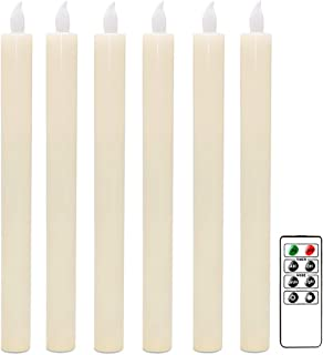"""DRomance Remote Fameless Taper Candles 6 Pack (0.78"""" x 9.64""""), Ivory Battery Operated Taper Candles with Soft White Flickering Flame, Real Wax, Timer Feature, Unscented for Christmas Holiday Decor"""