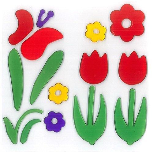 MagicGel Fensterbilder - 2 Tulpen mit Schmetterling, Fensterdeko, Spiegeldeko