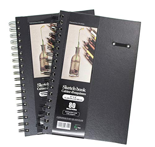 """LYTek Hardcover Sketch Book,2 Pack 6""""x9""""Premium Sketchbook with Spiral Wire and Pencil Loop,Total 160 Sheets of Sketch Pad,Acid Free Drawing Paper, Perfect for Pen,Colored Pencil,Pastel and Graphite."""