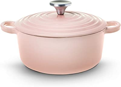House of Living Art Dutch Oven, Enameled Cast Iron, 2.7 Quart, Pink