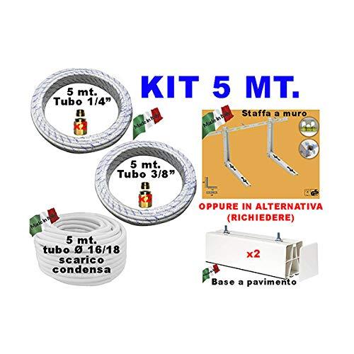 tubos de cobre KIT DE climaE 1/4 3/8 5 mt ACCESORIOS CONDENSACIÓN TUBO SOPORTE
