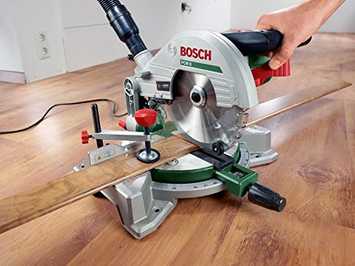 Bosch DIY Kapp- und Gehrungssäge PCM 8, Arbeitsklemme, Kreissägeblatt Optiline Wood, Staubbeutel, Karton (1200 W, Kreissägeblatt Nenn-Ø  216 mm) - 2