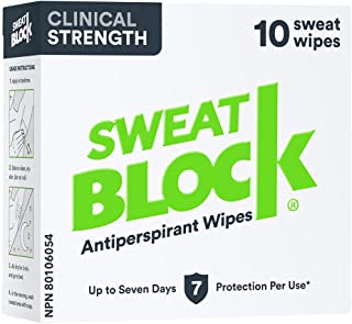 SweatBlock Clinical Strength Antiperspirant Wipes- Treat Hyperhidrosis & Excessive Sweating - Up to 7 Days Protection Per ...