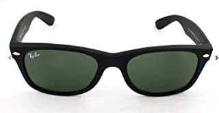 RAY-BAN RB2132 New Wayfarer Sunglasses, Black Rubber/Green, 58 mm