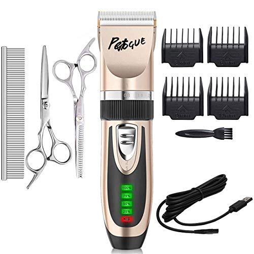 PetVogue Cordless Low Noise Professional Rechargeable Hair Trimmer Shaver Clippers with Comb Guides Scissors Grooming Tool Kit for Dogs, Cats and Other Hairy Animals (Blue)