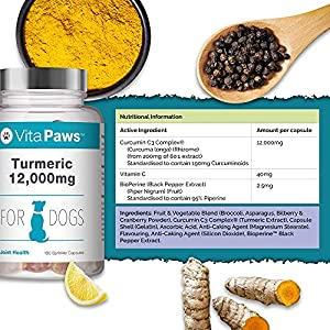 Curcumin/Turmeric 180 Capsules for Dogs 1500mg with Piperine   Popular Supplement for Joint Support   Manufactured in The UK