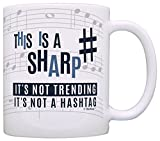 Music Teacher Gifts This is a Sharp Not a Hashtag Funny Musician Gift Coffee Mug Tea Cup White