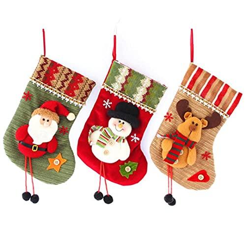 Christmas Stockings Mini Socks Christmas Decorations Gift Treat Bags for Kids Santa Snowman Reindeer 3PCS Decoration Supplies