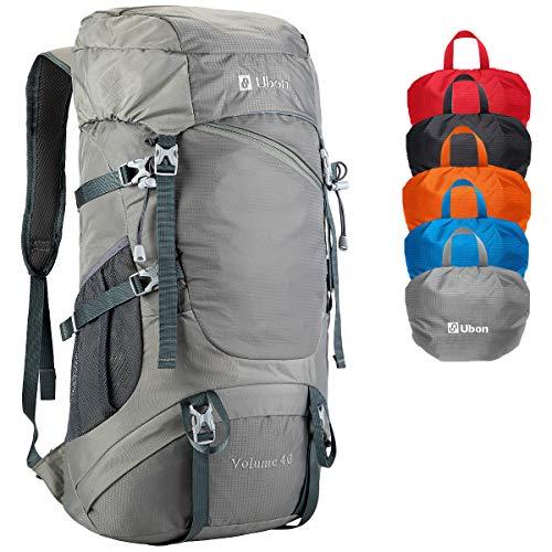 Ubon 40L Backpack Waterproof for Outdoor Sport Trekking Fishing Climbing Gray