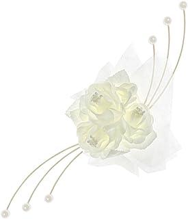comprar comparacion PartyDecoBRS - Juego de 4 Rosas Decorativas para Coche de Novios, Color Marfil