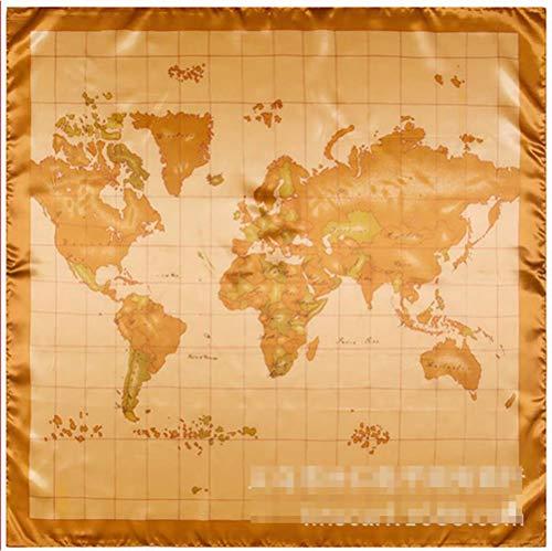 SELLA Bufanda de seda cuadrada Mujer 90 * 90Cm Característica china Seda Regalo Mapa del mundo Bufandas grandes para mujer Abrigos Hijab, 1