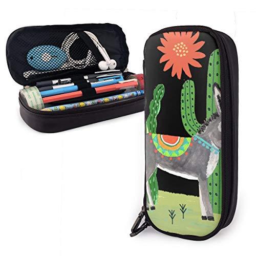 Mexikanischer Esel mit Kaktusen-Federmäppchen für Jungen und Mädchen, großes Federmäppchen für Studenten, Schule, Büro