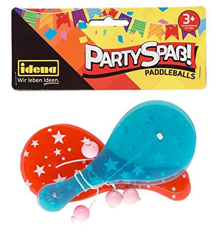 Idena 40435 Partyspaß Paddle, 4 Stück, mit Kunststoff Schlägern in rot und blau und je einem pinkfarbenen Ball, Größe ca. 12,5 x 5,5 cm