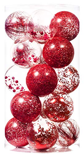 Christmas Ball Ornaments 80mm/3.15' Shatterproof Clear Plastic Xmas Decoration Tree Balls for Holiday Festivals Party Decorations((20 Counts,Red)