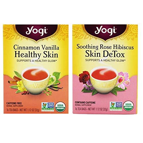 Yogi Tea Healthy Skin Pack - Cinnamon Vanilla Healthy Skin Tea and Soothing Rose Hibiscus Skin DeTox Tea - 2 pack