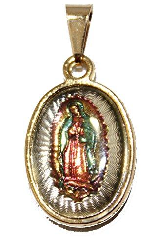 Diamantados of Florida Virgen de Guadalupe Medalla Dos Cara-Nuestra Señora de gudalaupe Medalla 18K Chapado en Oro Tres Tono Oro Oval Colgante con Cadena de 18Pulgadas