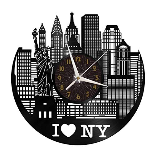 I Love New York Elements - Reloj de pared con disco de vinilo de 12 pulgadas, reloj de pared de vinilo para cocina, hogar, sala de estar, dormitorio, escuela (C), sin reloj de pared LED de 30 cm (12 p
