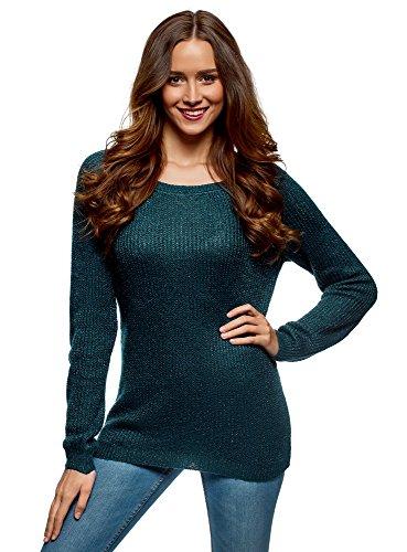 oodji Ultra Damen Pullover mit Bindebändern am Rücken, Grün, DE 34 / EU 36 / XS