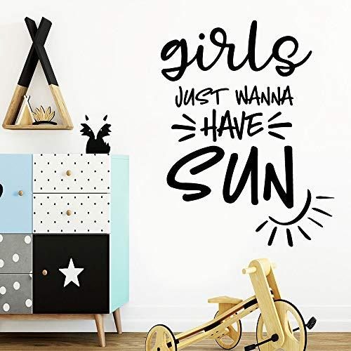 Diy Mädchen wollen nur Sonne Umweltschutz Vinyl für Kinderzimmer Dekoration Wandkunst Wandbild Pink L 28cm x 36cm