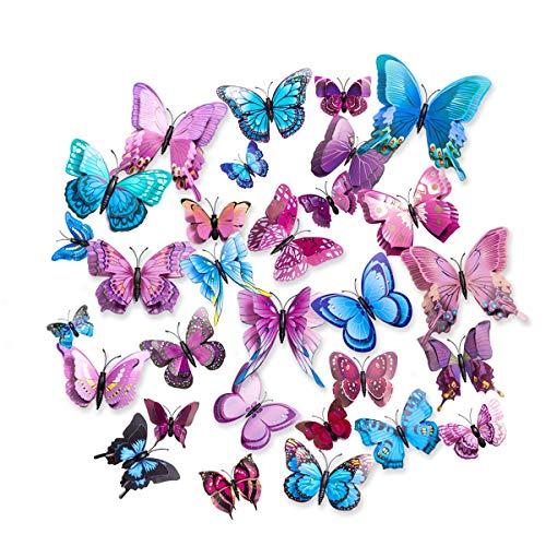 Farfalla Adesivi Murali, CCUCKY 36 Pezzi Doppi Strati 3D Ali Farfalle Decorazione Ideale Per Bambini Camera Cucina Frigo Piante da giardino Decorazioni per feste-Rosa/Blu/Viola