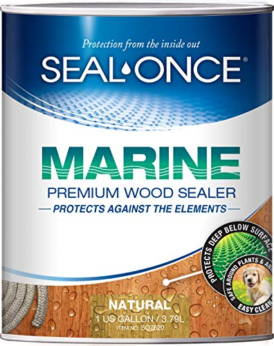 Product Image of the SEAL-ONCE Marine Ready Mix - 1 Gallon Penetrating Wood Sealer Waterproofer & Stain (Natural). Water-Based, Ultra-Low VOC Formula for high-Moisture Areas to Protect Wood Docks, Decks & Piers.