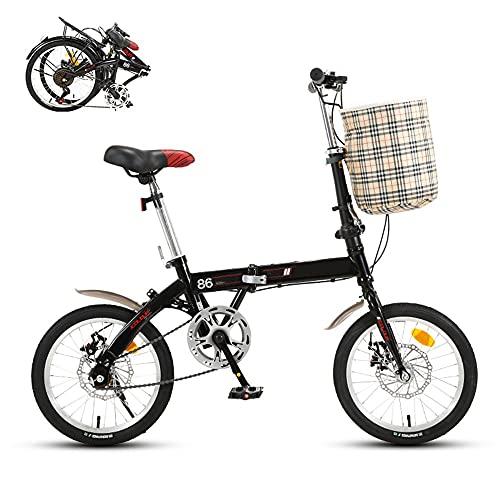 TXOTN Bicicleta Plegable Adultos Unisex, Velocidad única, Frenos De Disco Mecánicos, Estructura De Acero con Alto Contenido De Carbono, Neumáticos Antideslizantes Resistentes Al Desgaste