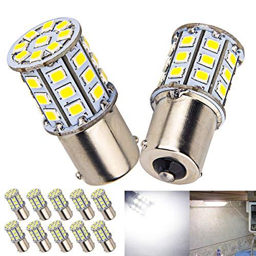10 x Super Bright BA15S 1156 1141 1003 RV Interior White Light LED Bulbs Camper Trailer Turn Signal Backup Reverse,6000K Pure White