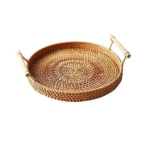 GYDJ 3 Size Breakfast Hand-Woven Bread with Handle Round Basket Rattan Tray Wicker Basket Storage Bread Basket Storage Basket Kitchen Bread Box(M)