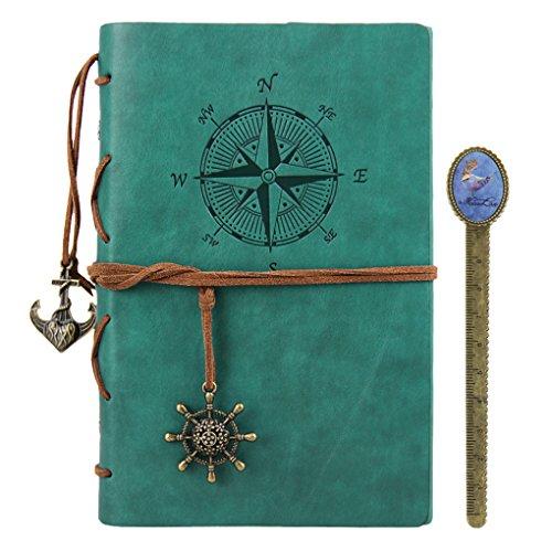 BXT gerecycled leer dagboek schrijven notitieboekje navulbaar notitieboekje losbladige string gebonden leeg notitieboekje reisdagboek reliëf anker notitieboekje A5 Lake Blue
