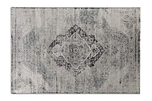 LIFA LIVING Alfombras de Lana Sintética Aqua, Alfombra de Estilo Retro, Alfombra para Salón y Dormitorio tamaños (Beige y Plata, 160 x 230 cm)