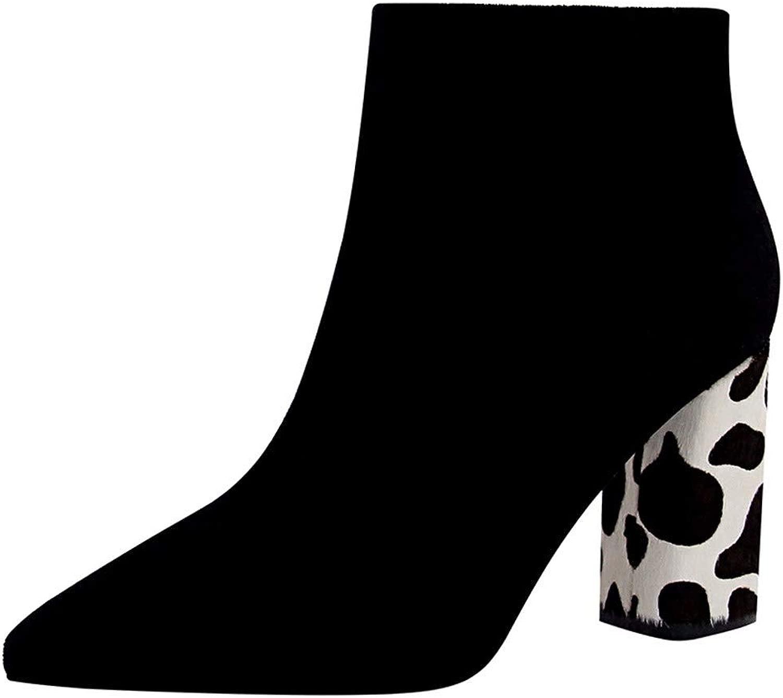 AJUNR Donna tuttia Moda la personalità di 9cm Tacco Alto Stivali leopardati Tacco Tacco Spessa Pelle Scamosciata Sexy Night Slim Stivali
