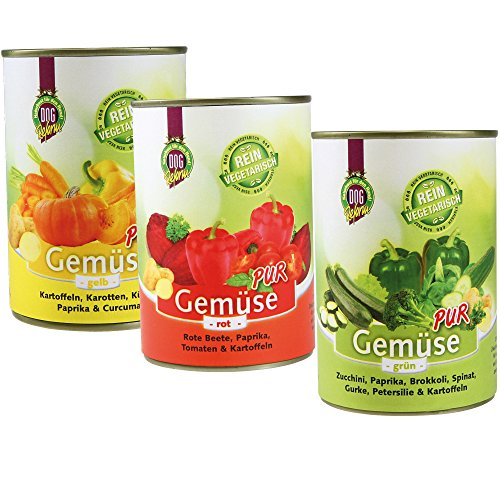 Schecker DOGREFORM Gemüse pur - rot,grün, gelb - 4x3 - in 3 verschiedenen Sorten erhältlich - zum BARFen - als Ergänzung für das Nassfutter oder Trockenfutter