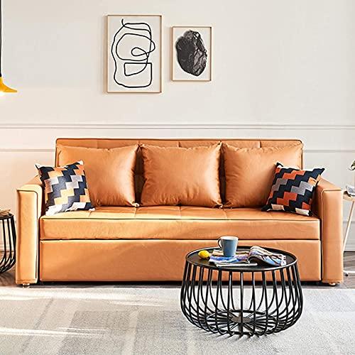N/Z Équipement pour la Maison Canapé-lit Pliant Nordic Pull Out Futon Couch Multi Function Comfortable Loveseat Sofa with Side Pocket for Living Room Furniture Configuration Apartment Orange 1.5M