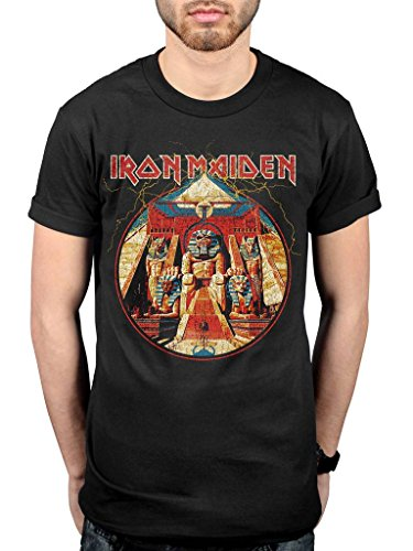Official Iron Maiden Powerslave Lightning Circle T-Shirt