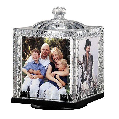 Crystal Revolving Photo Cube Frame Decorative Desk-Top Rotating Picture Display