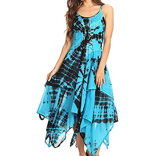Affordable Dainzusyful Womens Medieval Dress Sleeveless Irregular Criss Cross Bandage Punk Gothic St...