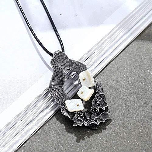 Yiffshunl Collar Collar Largo de Moda con Colgante de Flor de Piedra Blanca Collares Largos y Colgantes Joyas al por Mayor Collares Gargantilla