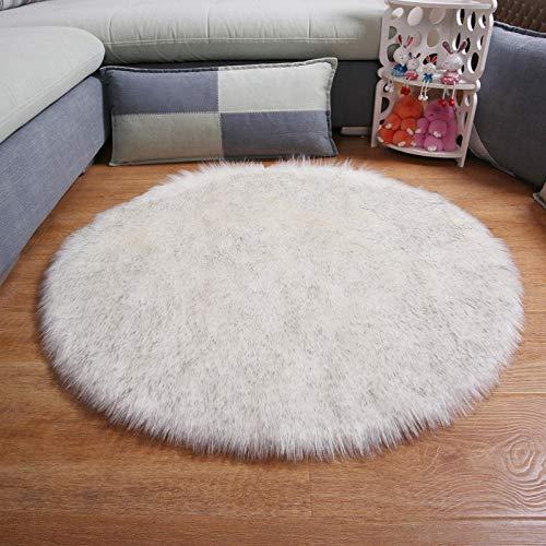 Faux Fur Area Rug Fluffy Carpet Round Shape 6cm Pile Fluffy Carpet for Living Room Bedroom Sea Set Home 110cm-110CM_Round_White_Grey