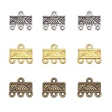 PH PandaHall 120pcs Necklace Connector, 3 Color Rectangle Multi Strand Bracelet Layer Clasp Pendant Bails Chandelier Drop Earrings Chains Tags Charms with 3 Hole