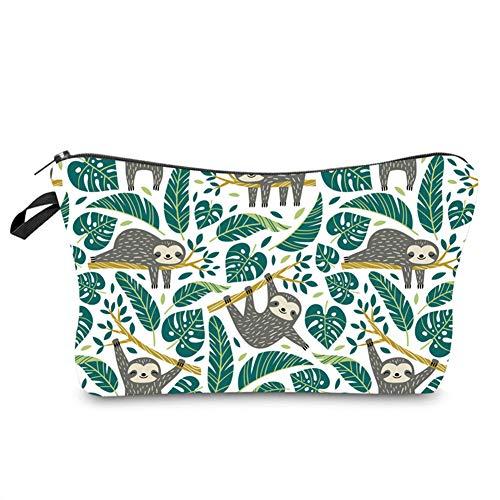 Kleine Kosmetiktasche für Handtasche, süße Make-up-Tasche, Kulturbeutel, Cartoon-Muster, Bleistifttasche mit Reißverschluss, Faultier