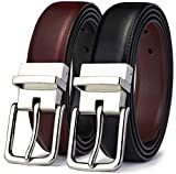 Men's Belt, Bulliant Leather Reversible Belt 1.25' For Mens Dress Casual Golf Belt,One Reverse for 2 Colors