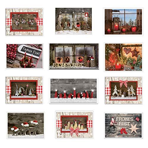 Kerstkaartenset 4 x 5 stuks kerstkaarten foto-motief rood blauw hout-look natuurlijk foto-kaarten wenskaart Vrolijk Vrolijk Feest kaars schommelpaard raam rendieren
