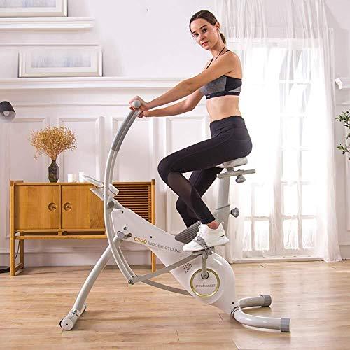 WEI-LUONG plegable Cubierta de bicicleta de ejercicios cubierta Ciclismo bicicleta estacionaria, con transmisión por correa de frecuencia cardíaca, asiento ajustable y el manillar sin problemas for In